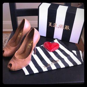 L.A.M.B. Tan leather Jamila peep toe heels 👠
